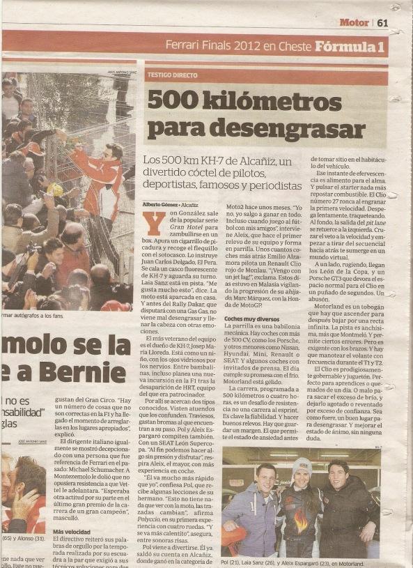 Ejemplo de la poca repercusión mediática que tienen en España  las carreras o cualquier evento automovilístico fuera de la Formula 1